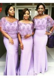 Sheath Off-the-Shoulder Lavender Bridesmaid Dress with Lace Wraps