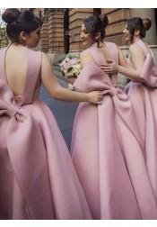 A-Line High Neck High Low Light Champagne Satin Bridesmaid Dress