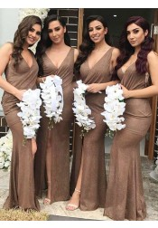 Mermaid V-Neck Long Brown Spandex Bridesmaid Dress with Split