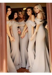 Mermaid Off-the-Shoulder Sweep Train Grey Satin Bridesmaid Dress