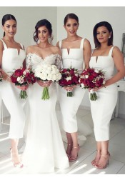 Sheath Square Neck Mid Calf Sleeveless White Satin Bridesmaid Dress
