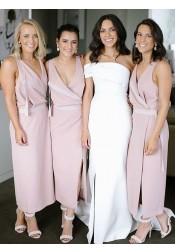 Sheath V-Neck Ankle Length Pink Chiffon Bridesmaid Dress with Split