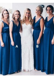 A-Line V-Neck Floor Length Sleeveless Blue Chiffon Bridesmaid Dress