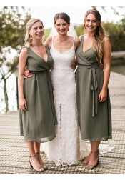 A-Line V-Neck Tea-Length Green Chiffon Bridesmaid Dress with Sash