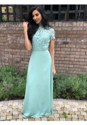 A-Line High Neck Sage Chiffon Long Bridesmaid Dress with Lace