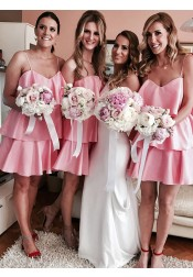 A-Line Spaghetti Straps Tiered Pink Satin Bridesmaid Dress with Ruffles