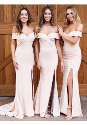 Sheath Off-the-Shoulder Pearl Pink Satin Bridesmaid Dress with Split