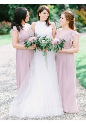 A-Line V-Neck Pleated Lilac Chiffon Long Bridesmaid Dress with Ruffles