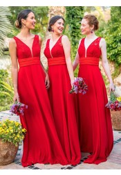 A-Line V-Neck Red Chiffon Long Bridesmaid Dress with Lace