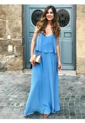 A-Line Spaghetti Straps Long Blue Chiffon Bridesmaid Dress
