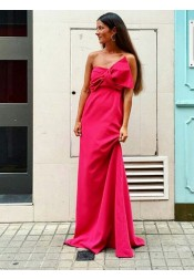 A-Line Strapless Sweep Train Red Chiffon Bridesmaid Dress with Bowknot