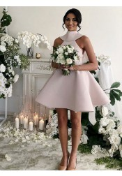 A-Line High Neck Short Blush Satin Bridesmaid Dress with Bowknot