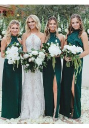 Sheath High Neck Dark Green Satin Bridesmaid Dress with Split