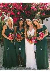 A-Line Scoop Floor Length Dark Green Chiffon Bridesmaid Dresses