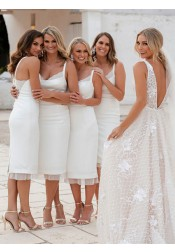 Sheath Scoop Knee Length White Bridesmaid Dress with Lace