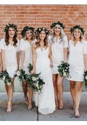 Sheath V-Neck White Chiffon Bridesmaid Dress with Short Sleeves