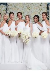 Sheath Cold Shoulder Sweep Train White Chiffon Bridesmaid Dress