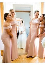 Sheath Off-the-Shoulder Floor Length Pink Satin Bridesmaid Dress