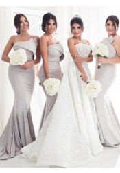 Mermaid Strapless Sweep Train Grey Satin Bridesmaid Dress