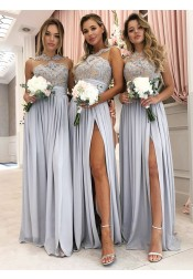 A-Line Round Neck Grey Long Bridesmaid Dress with Appliques Split