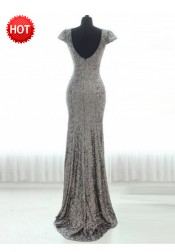 Sheath Scoop Cap Sleeves Sweep Train Silver Sequined Bridesmaid Dress