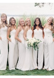 Strapless White Chiffon Long Bridesmaid Jumpsuit With Sash Pockets