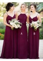 A-Line Spaghetti Straps floor-Length Sleeveless Burgundy Chiffon Bridesmaid Dress