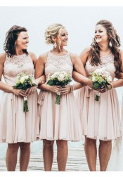 A-Line Crew Knee-Length Sleeveless Pearl Pink Chiffon Bridesmaid Dress with Lace