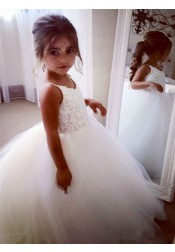 Ball Gown Spaghetti Straps Ivory Tulle Flower Girl Dress with Appliques