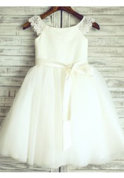 A-Line Crew Neck Ivory Flower Girl Dress with Lace Sash