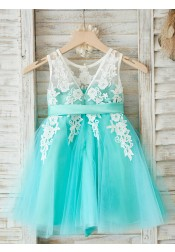 A-Line Round Neck Mint Flower Girl Dress with Appliques Sash