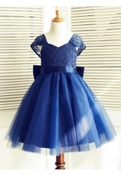 A-Line Square Backless Flower Girl Dress with Lace Sash
