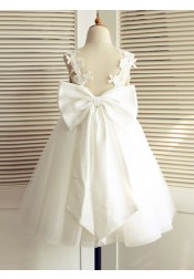 A-Line V-Neck Backless White Flower Girl Dress with Bow Lace