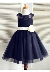 A-Line Jewel Navy Blue Flower Girl Dress with Flower Lace