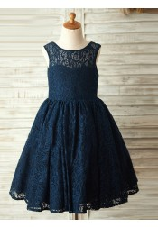 A-Line Crew Neck Navy Blue Lace Flower Girl Dress