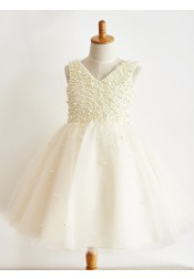 A-Line V-Neck Ivory Flower Girl Dress with Pearls