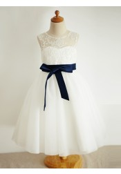 A-Line Jewel White Flower Girl Dress with Appliques Sash