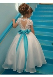Ball Gown Jewel Cap Sleeves White Organza Flower Girl Dress with Lace Beading