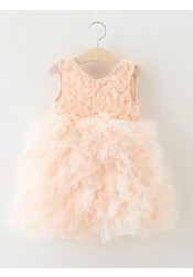 Ball Gown Jewel Sleeveless Pearl Pink Tiered Tulle Flower Girl Dress