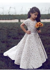 A-Line Round Neck Sweep Train Ivory Lace Flower Girl Dress with Sash