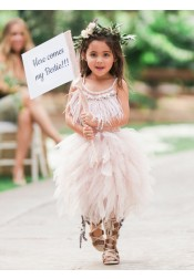A-Line Spaghetti Straps Asymmetrical Tulle Flower Girl Dress with Feather