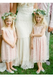 A-Line Scoop Mid-Calf Pearl Pink Lace Flower Girl Dress