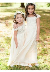 A-Line Bateau Cap Sleeves Ivory Chiffon Flower Girl Dress with Lace