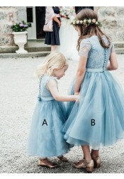 A-Line Round Neck Tea-Length Light Sky Blue Tulle Flower Girl Dress with Lace