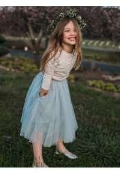 A-Line Round Neck Sage Tulle Flower Girl Dress with Pockets Appliques