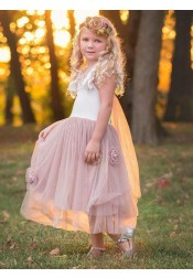 A-Line Square Neck Blush Tulle Flower Girl Dress with Flowers