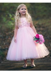A-Line Round Neck Pink Tulle Flower Girl Dress with Appliques Beading