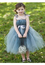A-Line Straps Mid Calf Sage Tulle Flower Girl Dress with Sash