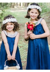 A-Line Round Neck Royal Blue Satin Flower Girl Dress with Pearls