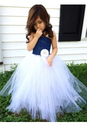 A-Line Strapless Floor Length Navy Blue Flower Girl Dress